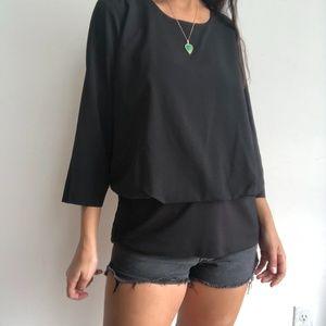 CAbi black Indulgence long sleeve blouse M